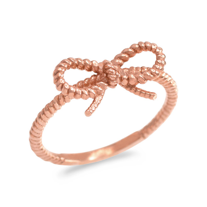 Rose Gold Ribbon Bow Roped Ring