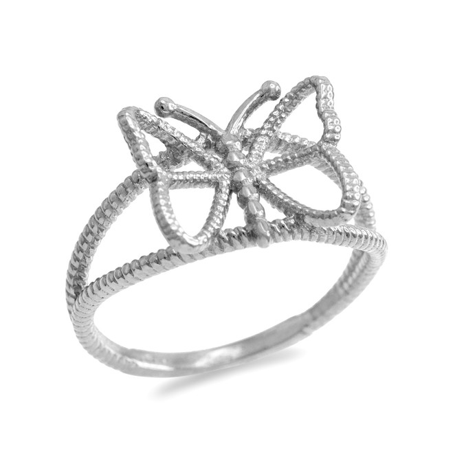 Sterling Silver  Open Design Butterfly Ring