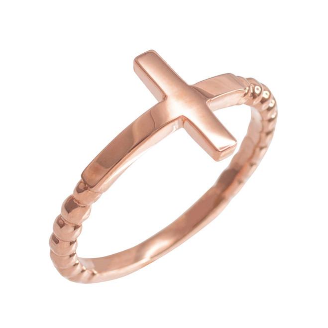 Rose Gold Beaded Sideways Cross Ring