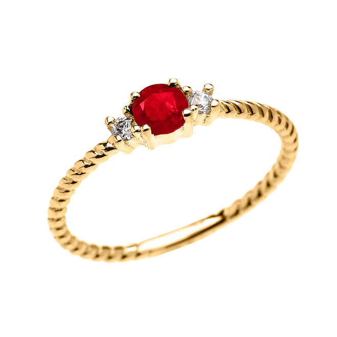 Yellow Gold Dainty Solitaire Ruby and White Topaz Rope Design Promise/Stackable Ring