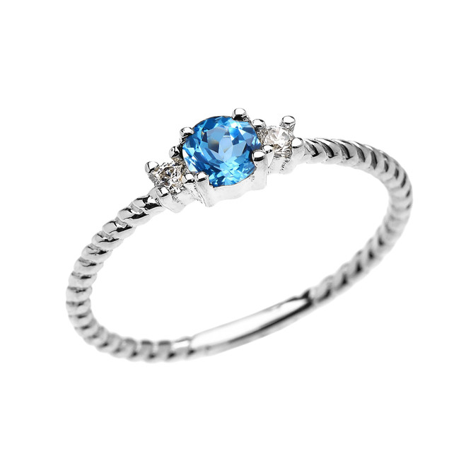 White Gold Dainty Solitaire Blue Topaz and White Topaz Rope Design Promise/Stackable Ring
