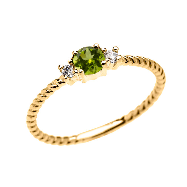 Yellow Gold Dainty Solitaire Peridot and White Topaz Rope Design Promise/Stackable Ring