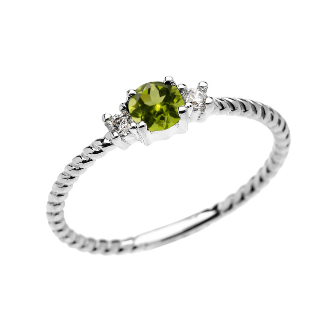 White Gold Dainty Solitaire Peridot and White Topaz Rope Design Promise/Stackable Ring