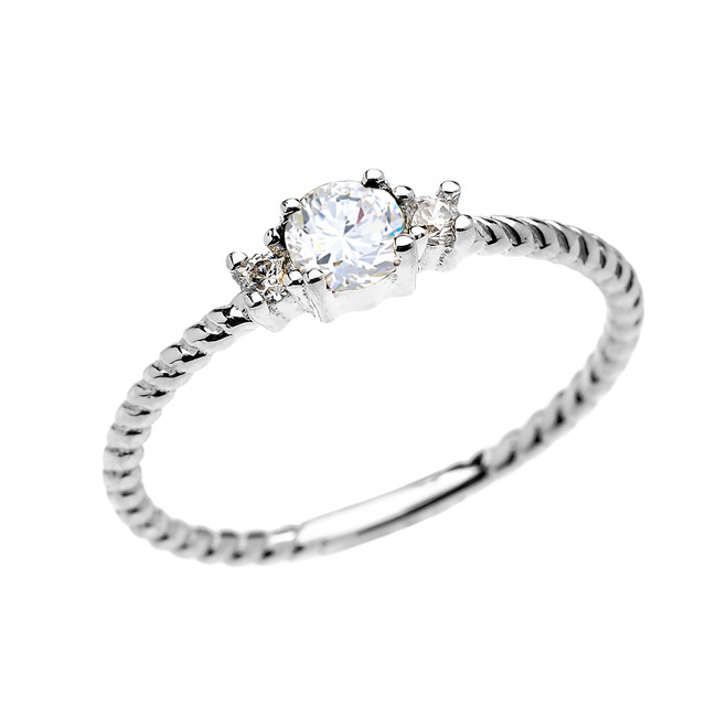 White Gold Dainty Solitaire White Topaz Rope Design Promise/Stackable Ring
