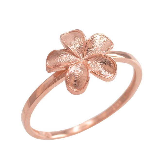 Rose Gold Smooth Hawaiian Plumeria Flower Ring
