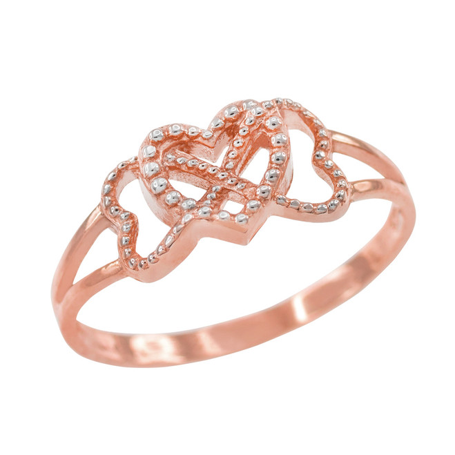 Two Tone Rose Gold Textured Infinity Heart Ring