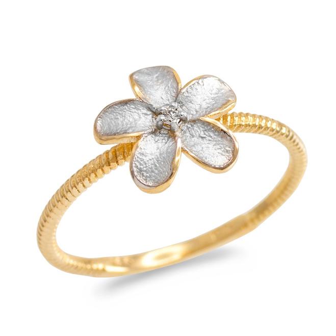 Two Tone Gold Diamond Hawaiian Plumeria Flower Ring
