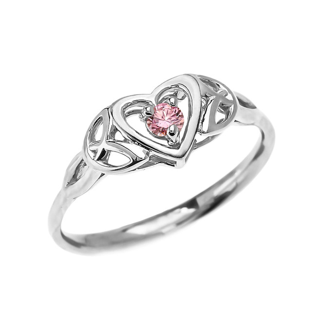 Trinity Knot Heart Solitaire Pink CZ (Cubic zirconia) White Gold Proposal Ring