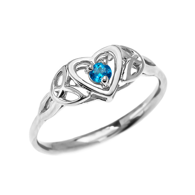Trinity Knot Heart Solitaire Blue Topaz White Gold Proposal Ring