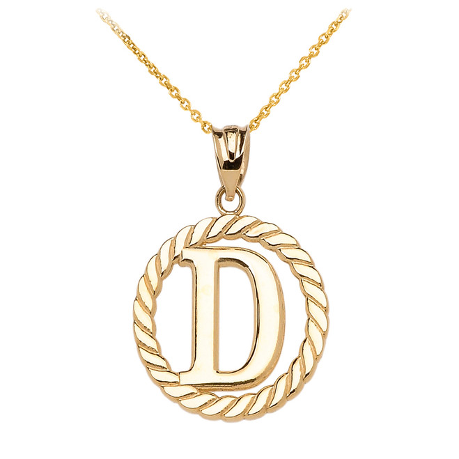 "Yellow Gold ""D"" Initial in Rope Circle Pendant Necklace"