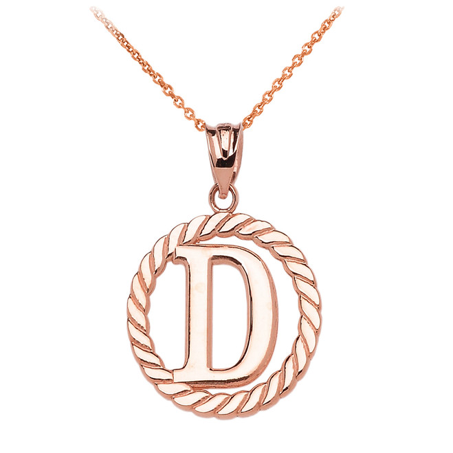 "Rose Gold ""D"" Initial in Rope Circle Pendant Necklace"