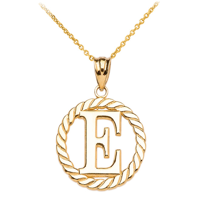 yellow gold quot t quot initial in rope circle pendant necklace