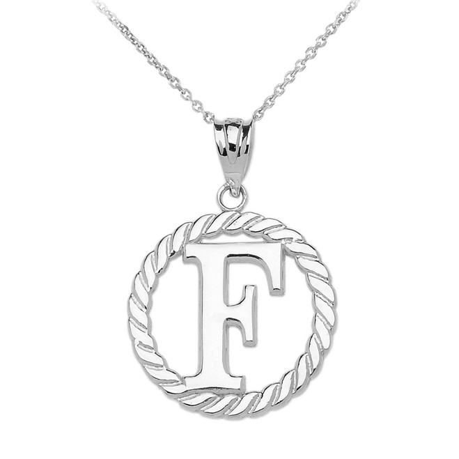 """White Gold """"F"""" Initial in Rope Circle Pendant Necklace"""