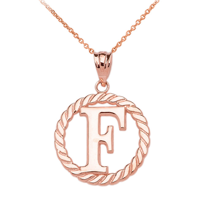 """Rose Gold """"F"""" Initial in Rope Circle Pendant Necklace"""