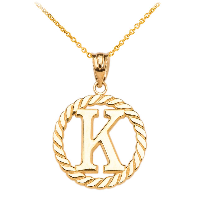 """Yellow Gold """"K"""" Initial in Rope Circle Pendant Necklace"""