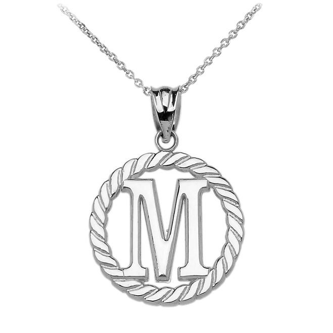 """Sterling Silver """"M"""" Initial in Rope Circle Pendant Necklace"""