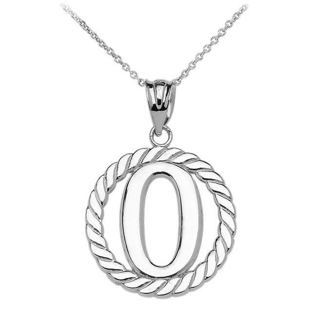 "White Gold ""O"" Initial in Rope Circle Pendant Necklace"