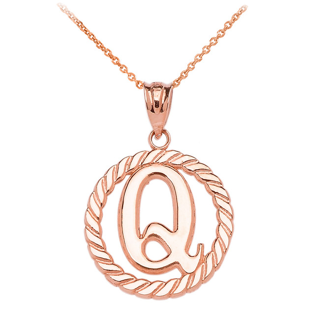 """Rose Gold """"Q"""" Initial in Rope Circle Pendant Necklace"""