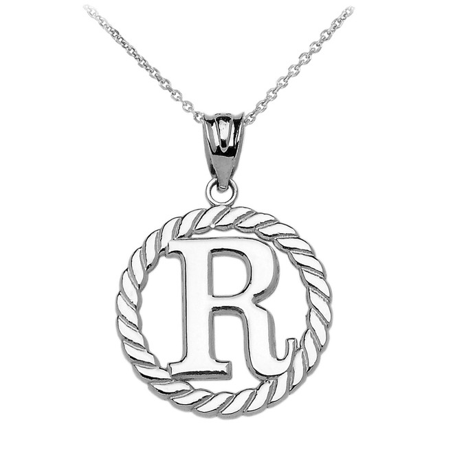 "Sterling Silver ""R"" Initial in Rope Circle Pendant Necklace"