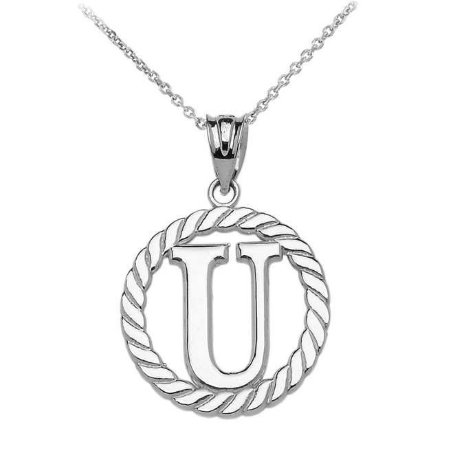 "Sterling Silver ""U"" Initial in Rope Circle Pendant Necklace"