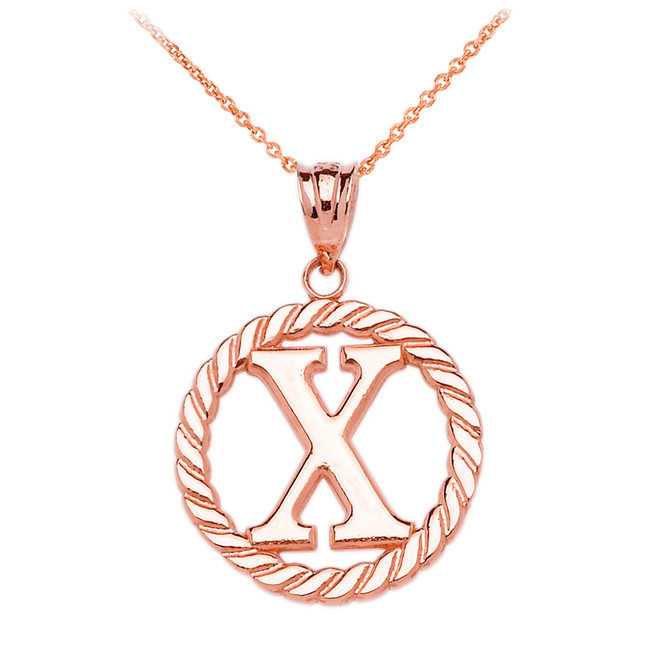 "Rose Gold ""X"" Initial in Rope Circle Pendant Necklace"