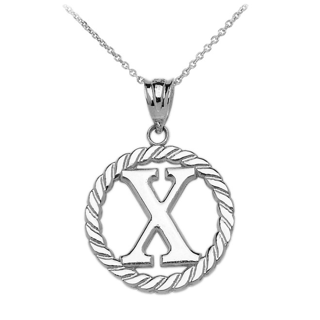 "Sterling Silver ""X"" Initial in Rope Circle Pendant Necklace"