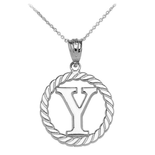 """White Gold """"Y"""" Initial in Rope Circle Pendant Necklace"""