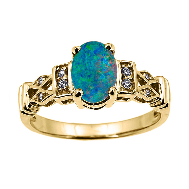 Yellow Gold Australian Opal Doublet and Diamond Engagement Proposal Ring