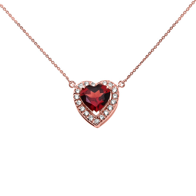 Elegant Rose Gold Diamond and January Birthstone Heart Solitaire Necklace