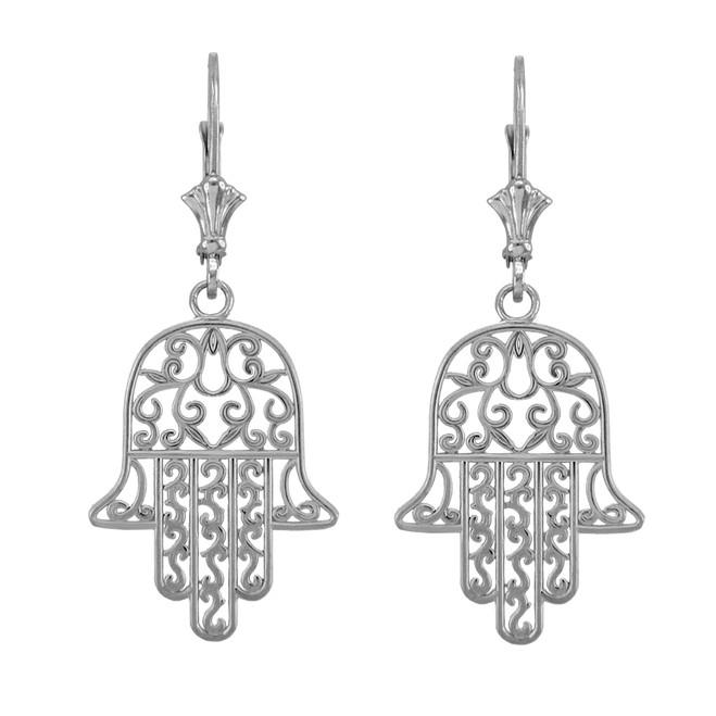 14k White Gold Hamsa Earrings