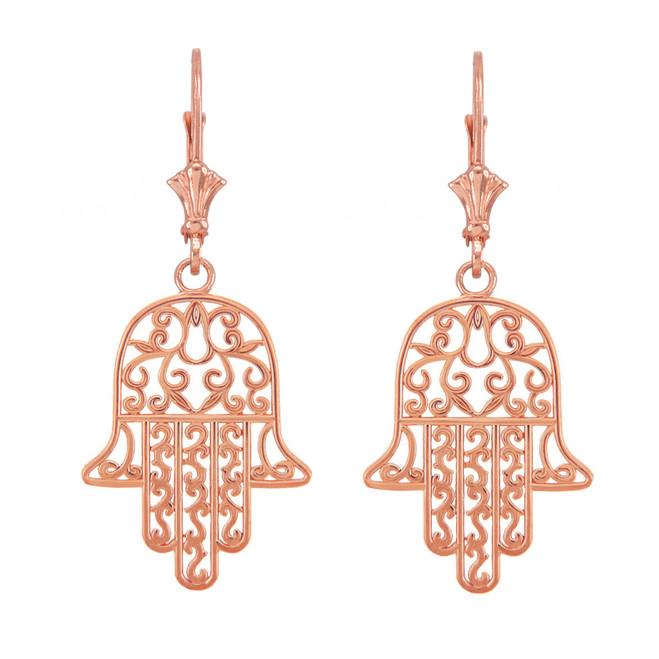 14k Rose Gold Hamsa Earrings