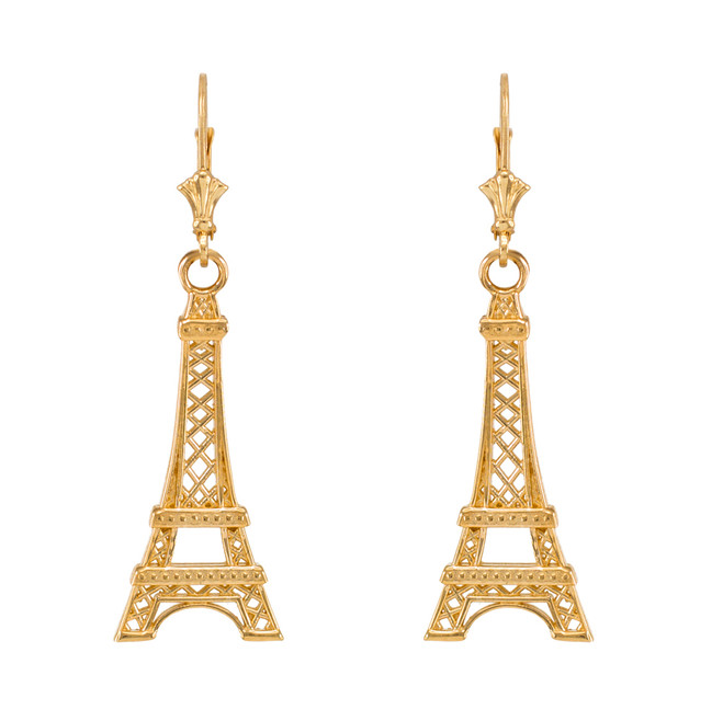 14k Yellow Gold Paris Eiffel Tower Earrings