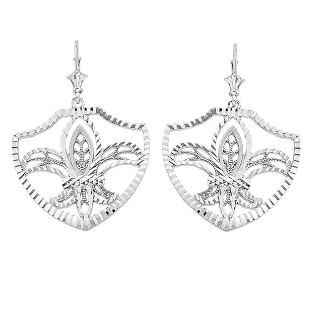 Sterling Silver Fleur De Lis Filigree Diamond Cut Dangling Earrings