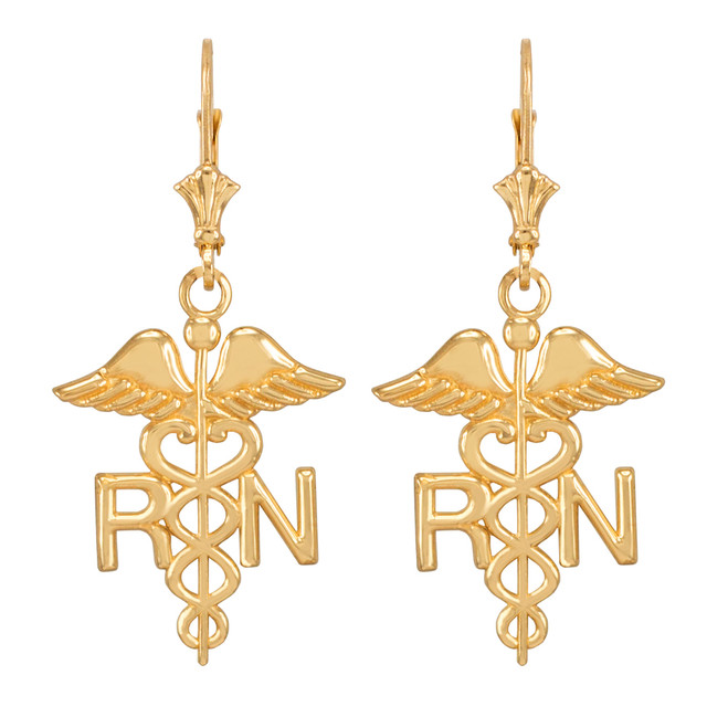 14k Yellow Gold Medical Registered Nurse Earrings