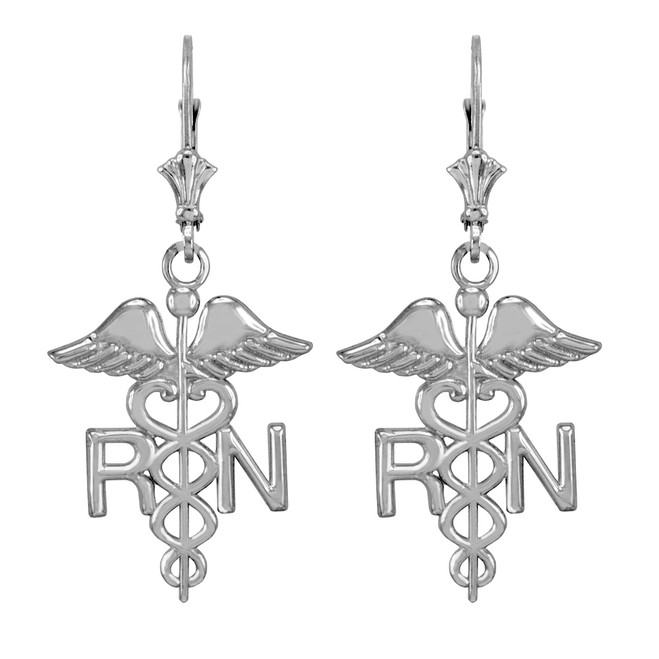 14k White Gold Medical Registered Nurse Earrings
