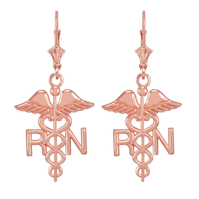 14k Rose Gold Medical Registered Nurse Earrings