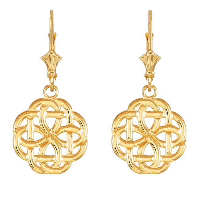 14k Yellow Gold Eternity Trinity Knot Earrings