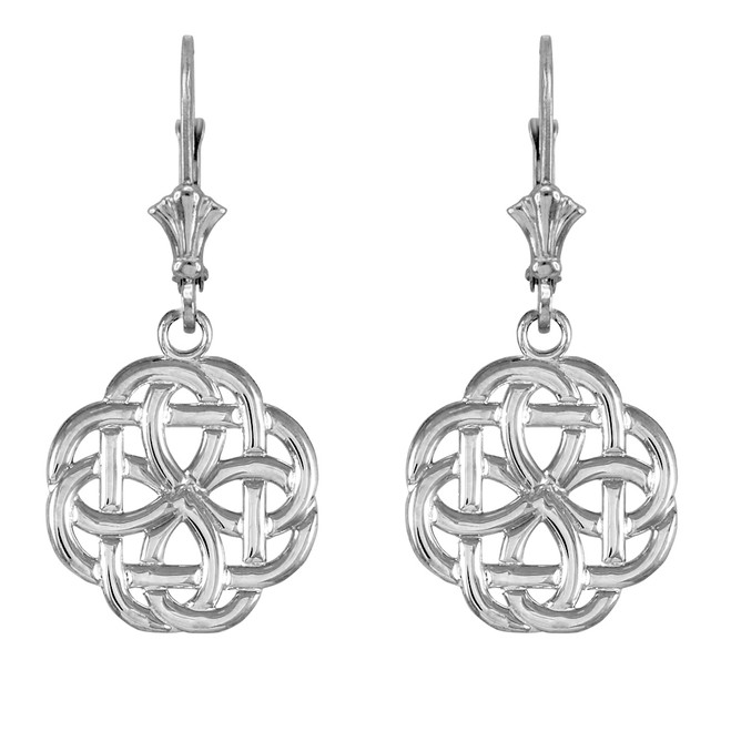 14k  White Gold Eternity Trinity Knot Earrings