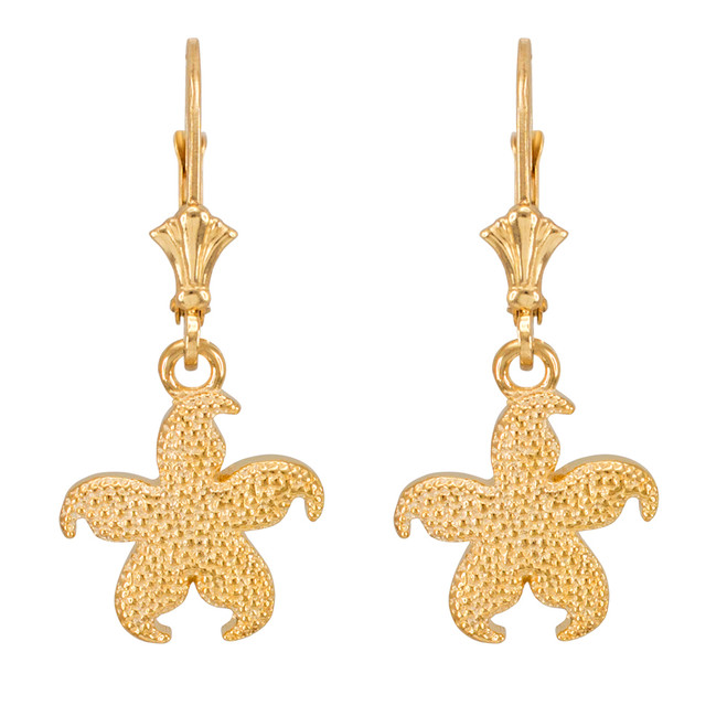 14k Yellow Gold Textured Starfish Earrings