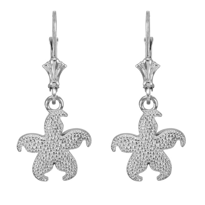 14k White Gold Textured Starfish Earrings