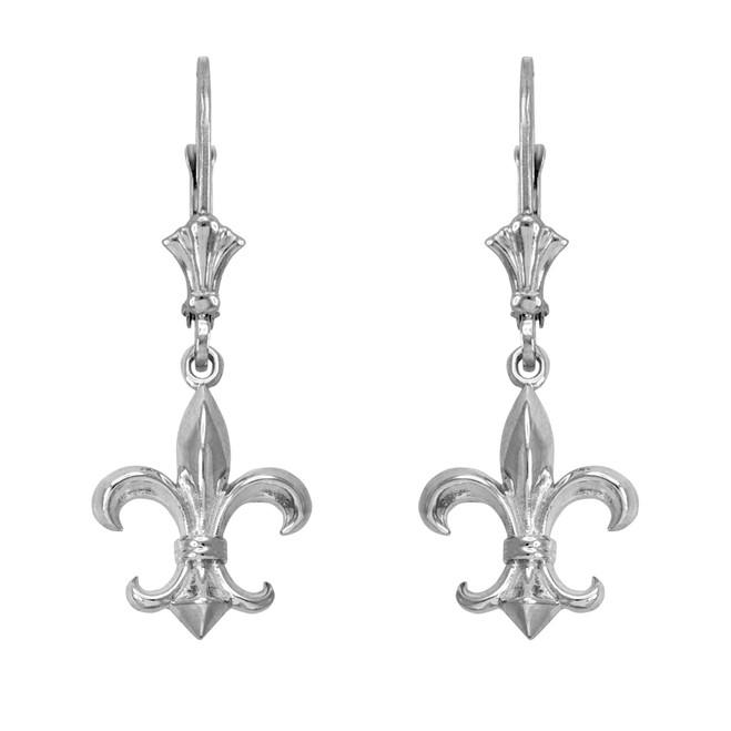 14k White Gold Fleur-de-Lis Earrings