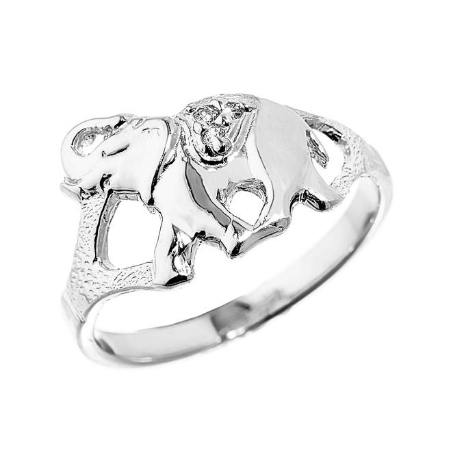 Elegant White Gold Diamond Elephant Ring