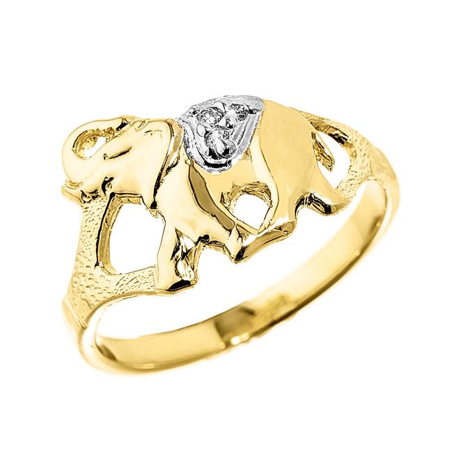 Elegant Yellow Gold Diamond Elephant Ring