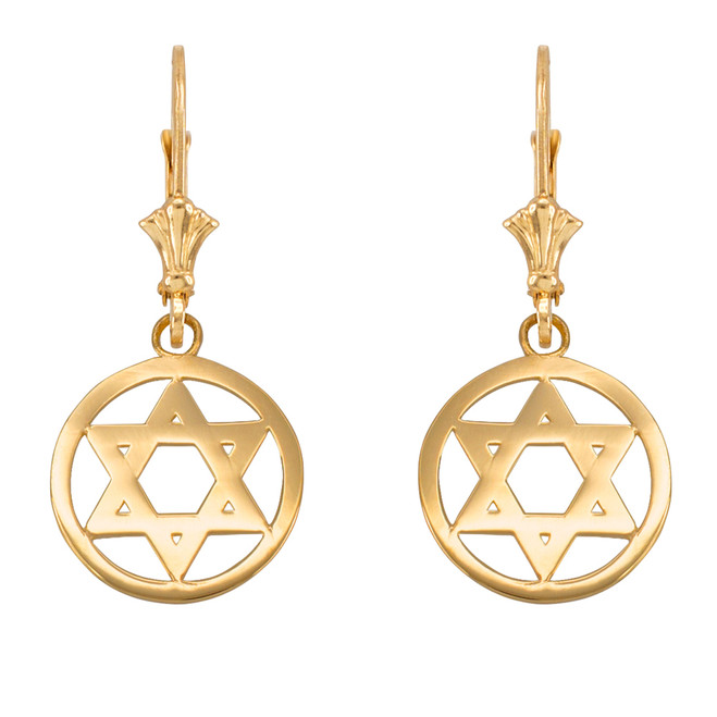 14k Yellow Gold Encircled Star of David Earrings