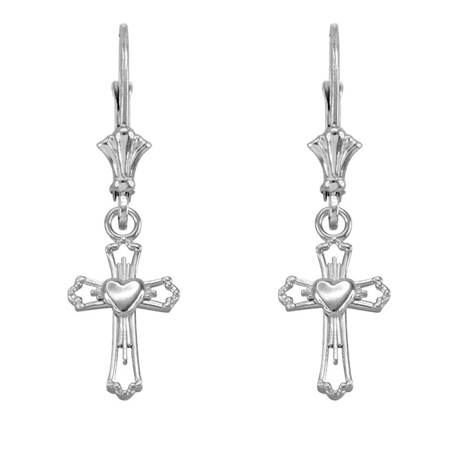 Sterling Silver Heart Cross Earrings