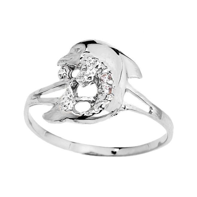 Dainty White Gold CZ Dolphin Ring
