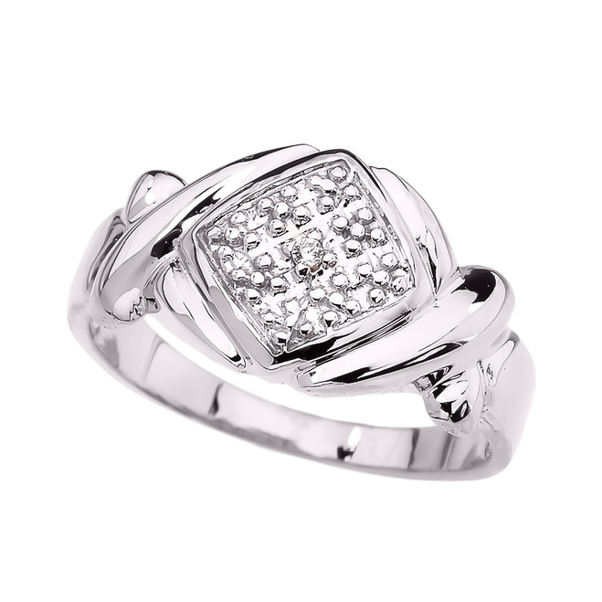White Gold Love Hugs and Kisses (XOXO) Unisex Ring