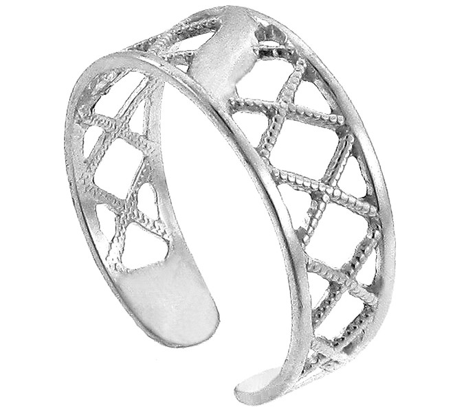 White Gold Cross Hatch Toe ring