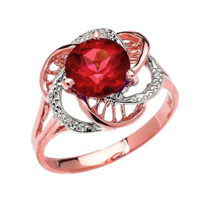 Rose Gold Garnet Solitaire Modern Flower Ladies Ring