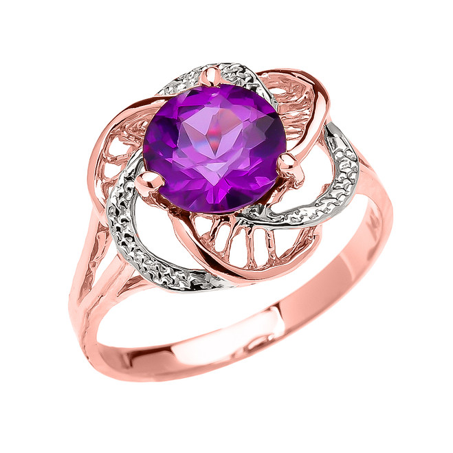 Rose Gold  Amethyst Solitaire Modern Flower Ladies Ring